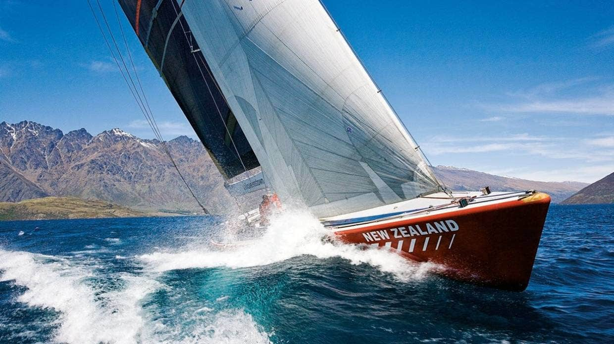 Former America's Cup yacht NZL-14 was used by a Queenstown tourism company before falling into disrepair. Picture: STUFF SPORTS.