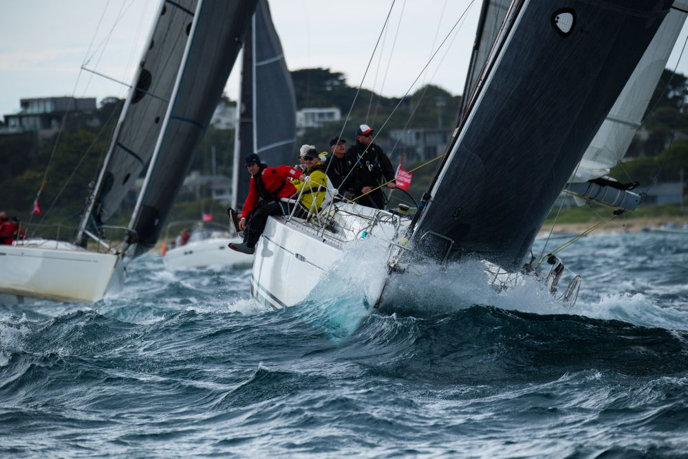 Conditions inside Port Phillip Bay were wet and wild for the start of the 2020 ORCV Melbourne to Devonport Race. Photo credit Michael Currie.