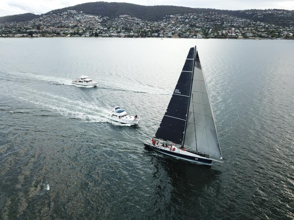 Alive sailing to the finish line to take line honours in the TasPorts Launceston to Hobart Yacht Race Photo credit Steve Shield.