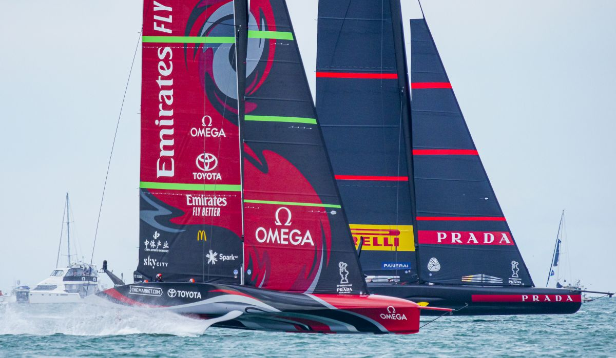 Team New Zealand and Luna Rossa on Day One of the 36th America's Cup.