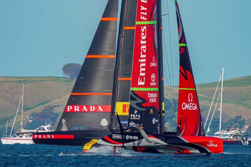 Luna Rossa Prada Pirelli and Emirates Team New Zealand locked in a duel - pic courtesy ETNZ