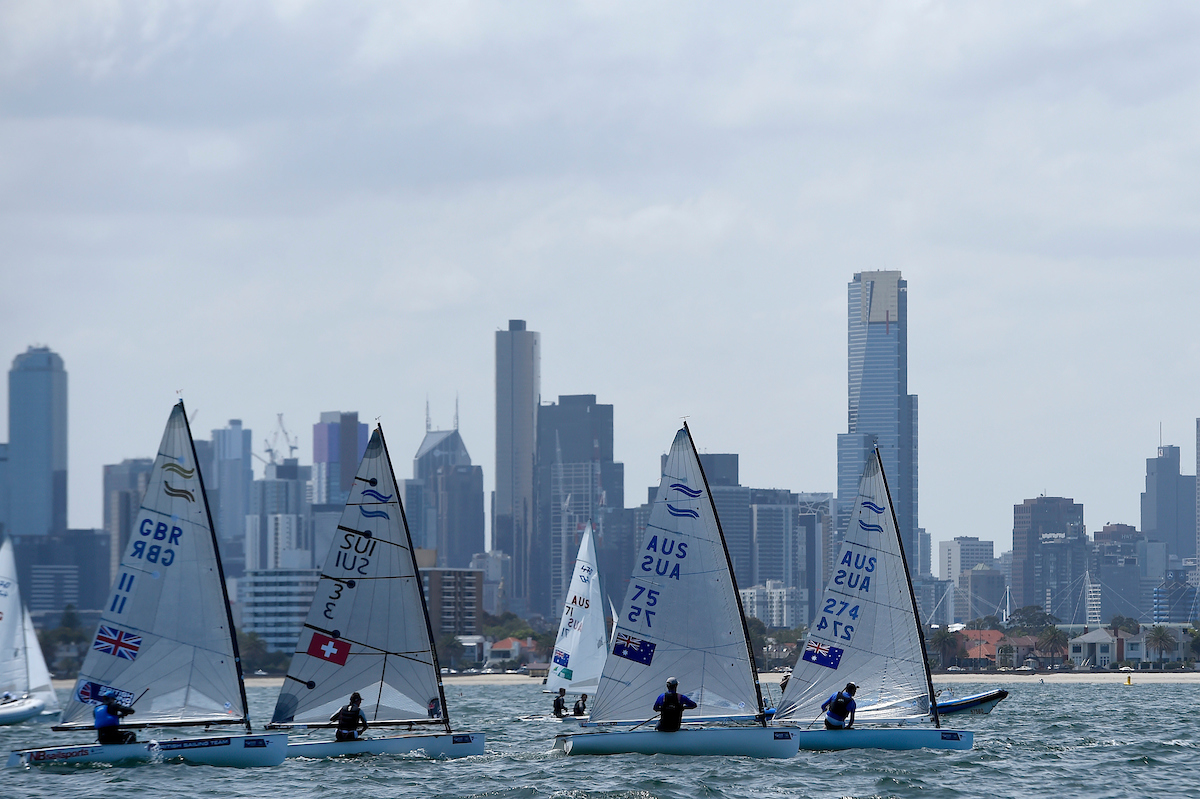 Finn / starting action / fleet racing ISAF Sailing World Cup Final - Melbourne St Kilda sailing precinct, Victoria Port Phillip Bay Tuesday 6 Dec 2016 © Sport the library / Jeff Crow