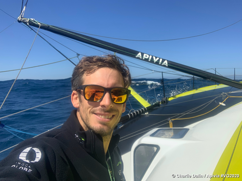 Photo sent from aboard the boat Apivia during the Vendee Globe sailing race on November 28