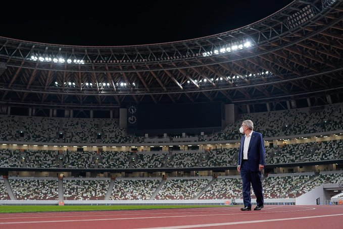 IOC President Thomas Bach inside the Tokyo 2020 Olympic Stadium. Photo Tokyo 2020.