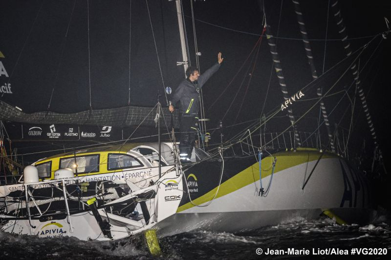 Charlie Dalin APIVIA first across the line in the 2020/21 Vendee Globe.