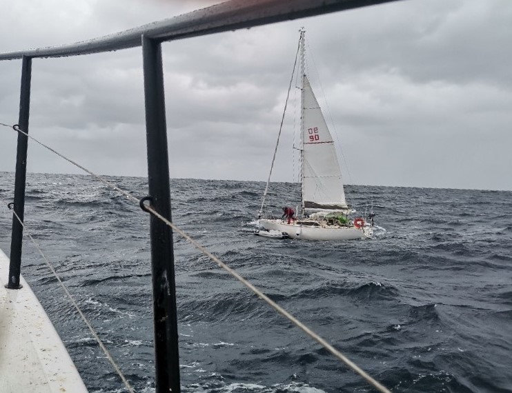 The stricken yacht had a foot of water over the floorboards. Photo Marine Rescue.