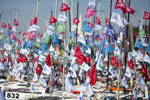 The fleet sits at dock in the Mini Transat Race Village