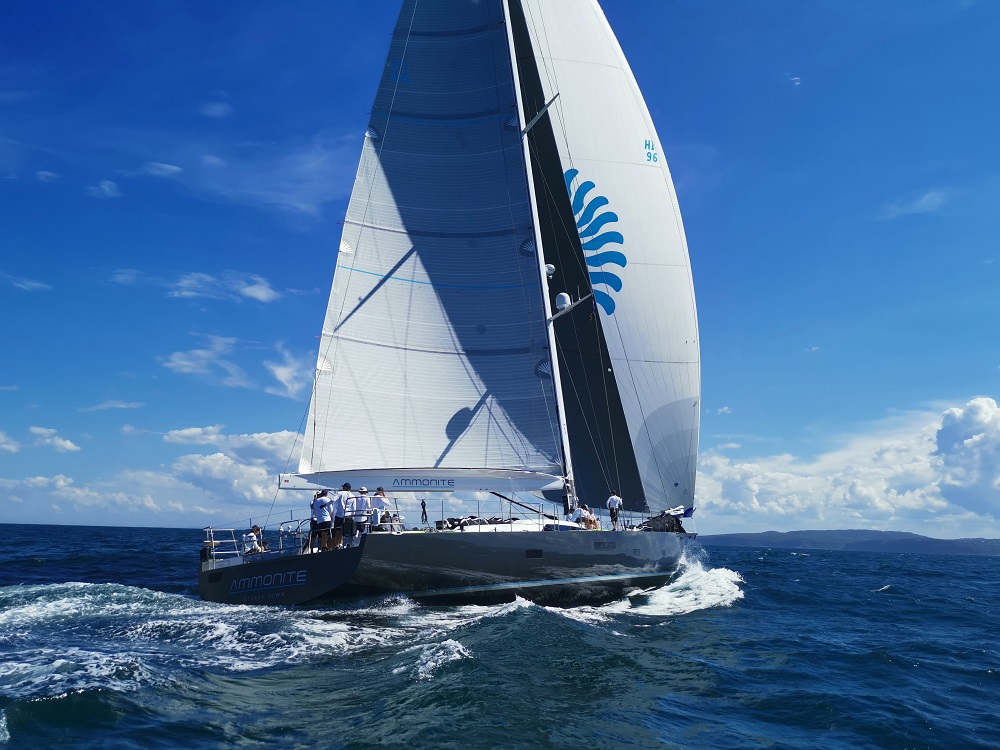 Ammonite looking slick on a training run - RPAYC media pic - Pittwater to Coffs.