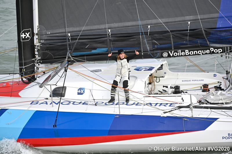 Clarisse Cremer gives the thumbs up to her record breaking run in the Vendee Globe - Olivier-Blanchet/Alea pic