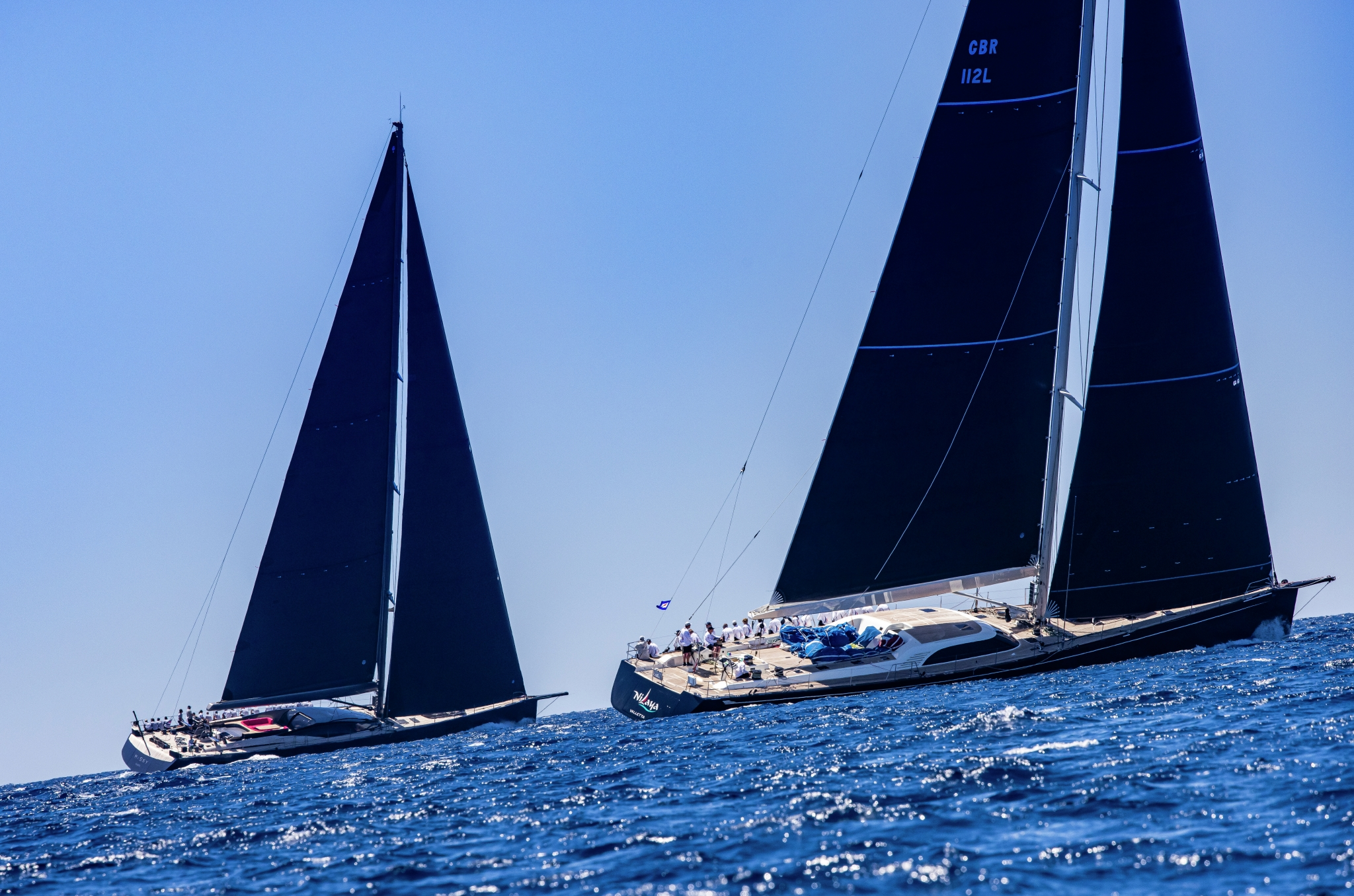 Superyacht Cup Palma 2021. Two of the competitors are neck and neck.