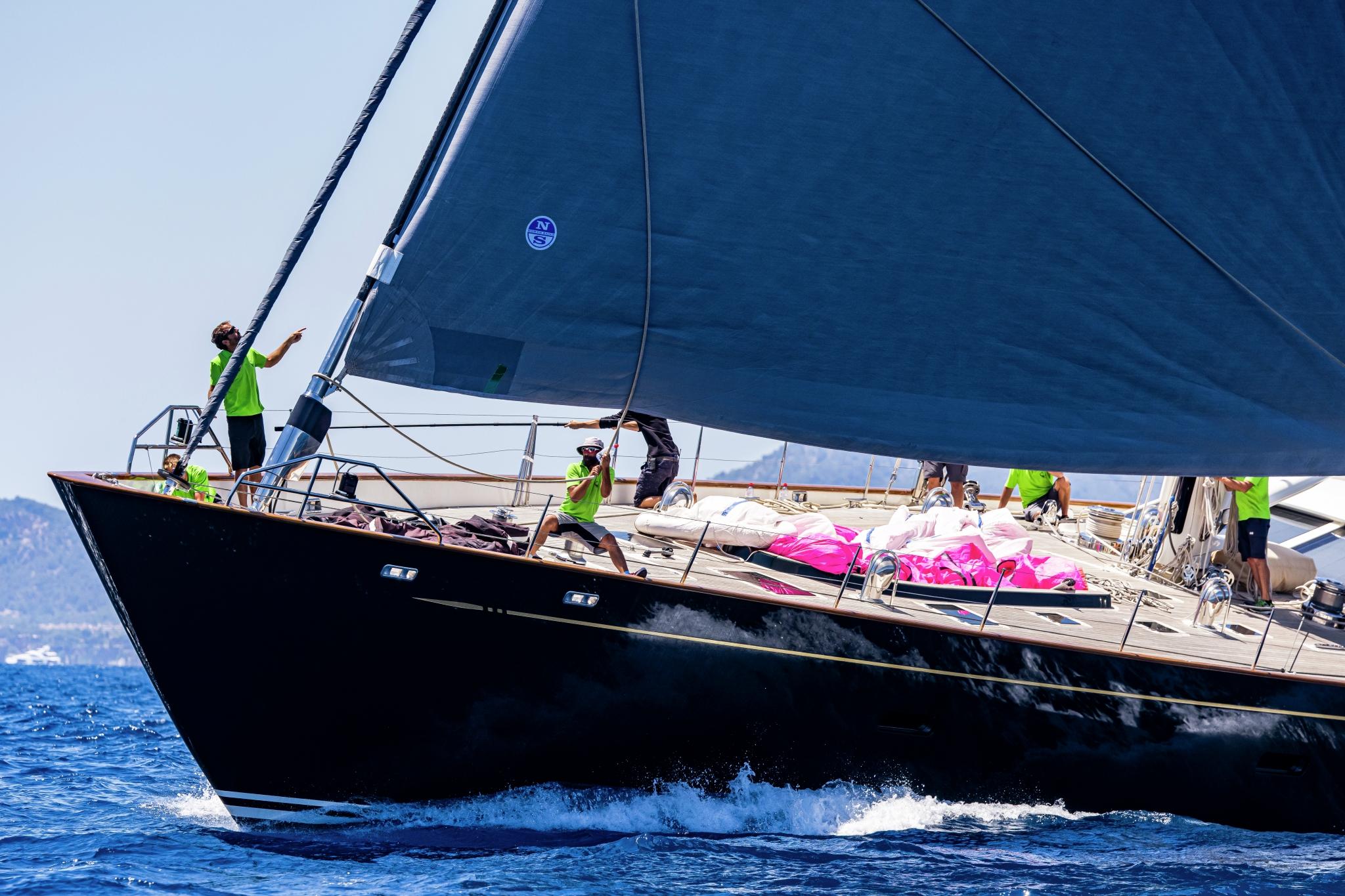Superyacht Cup Palma 2021, a yacht prepares its kite.