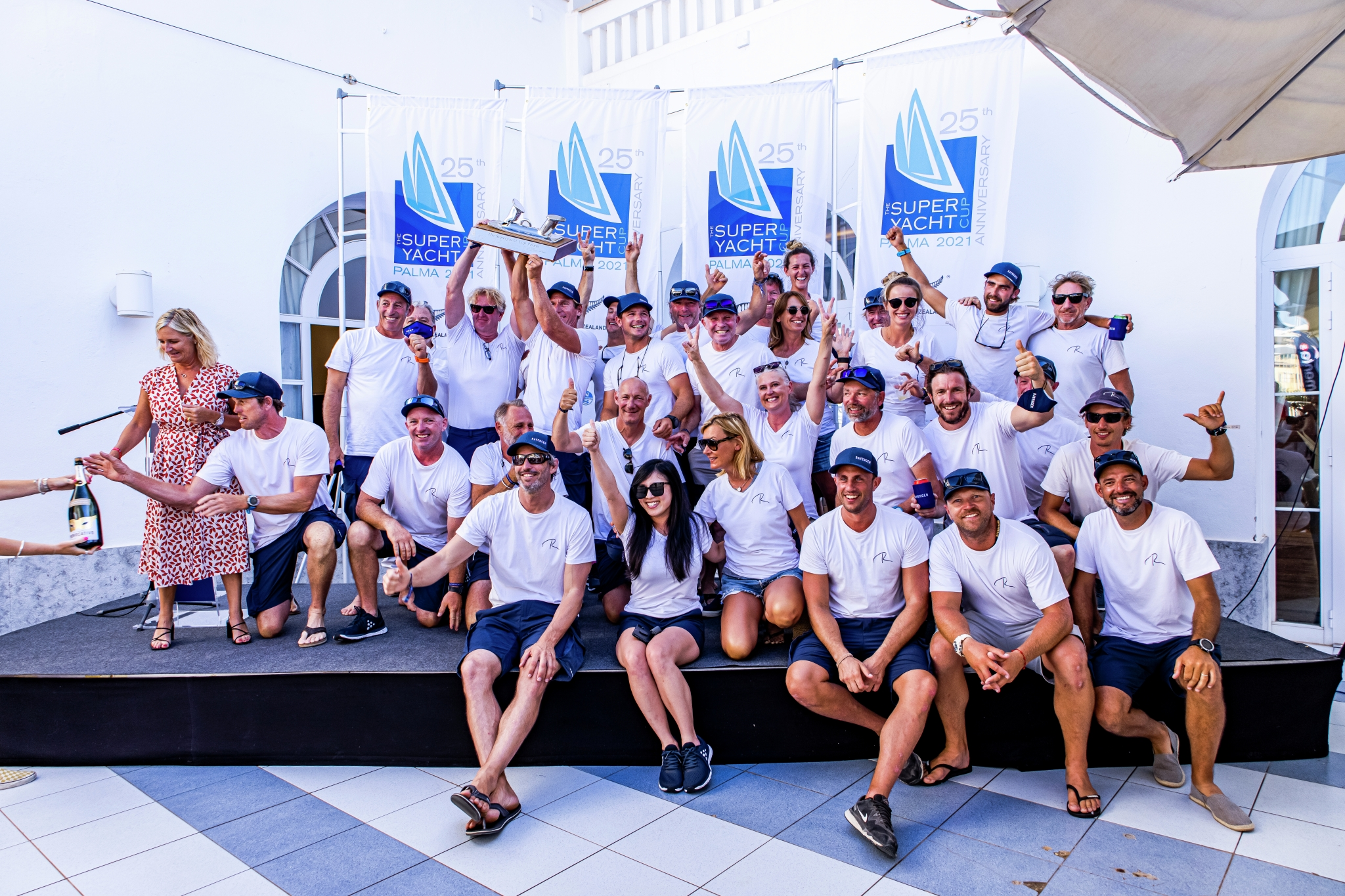 Superyacht Cup Palma 2021, Ravenger crew celebrate the win at the prize giving ceremony