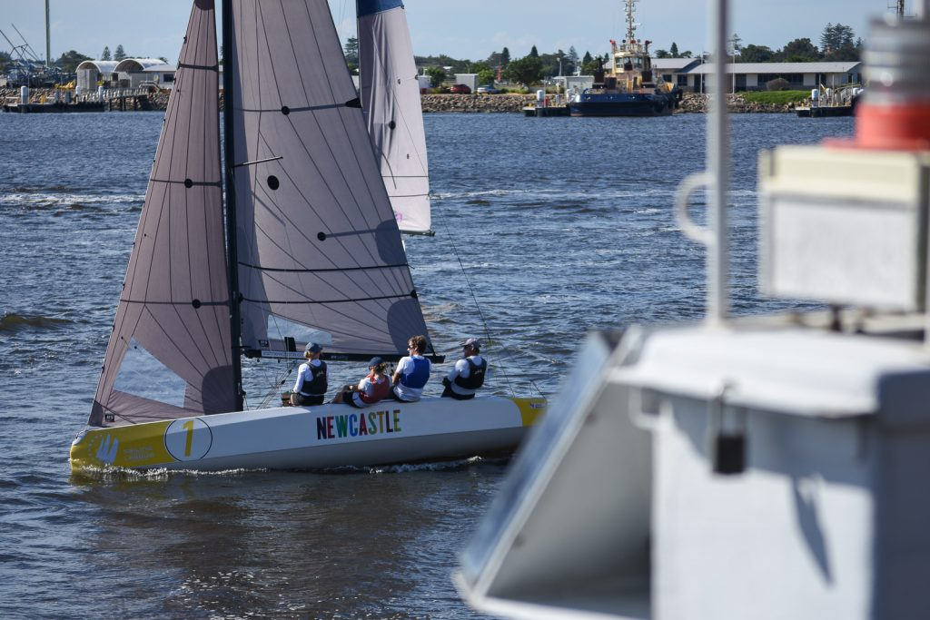 A keelboat racing in Newcastle as part of the Sailing Champions League