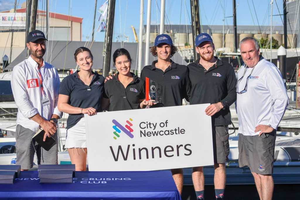 Last season's crowned champions - Sam King, Chloe Fisher, Alice Buchanan and Charlie Zeeman with SCL Director Mark Turnbull and NCYC General Manager Paul O'Rourke.