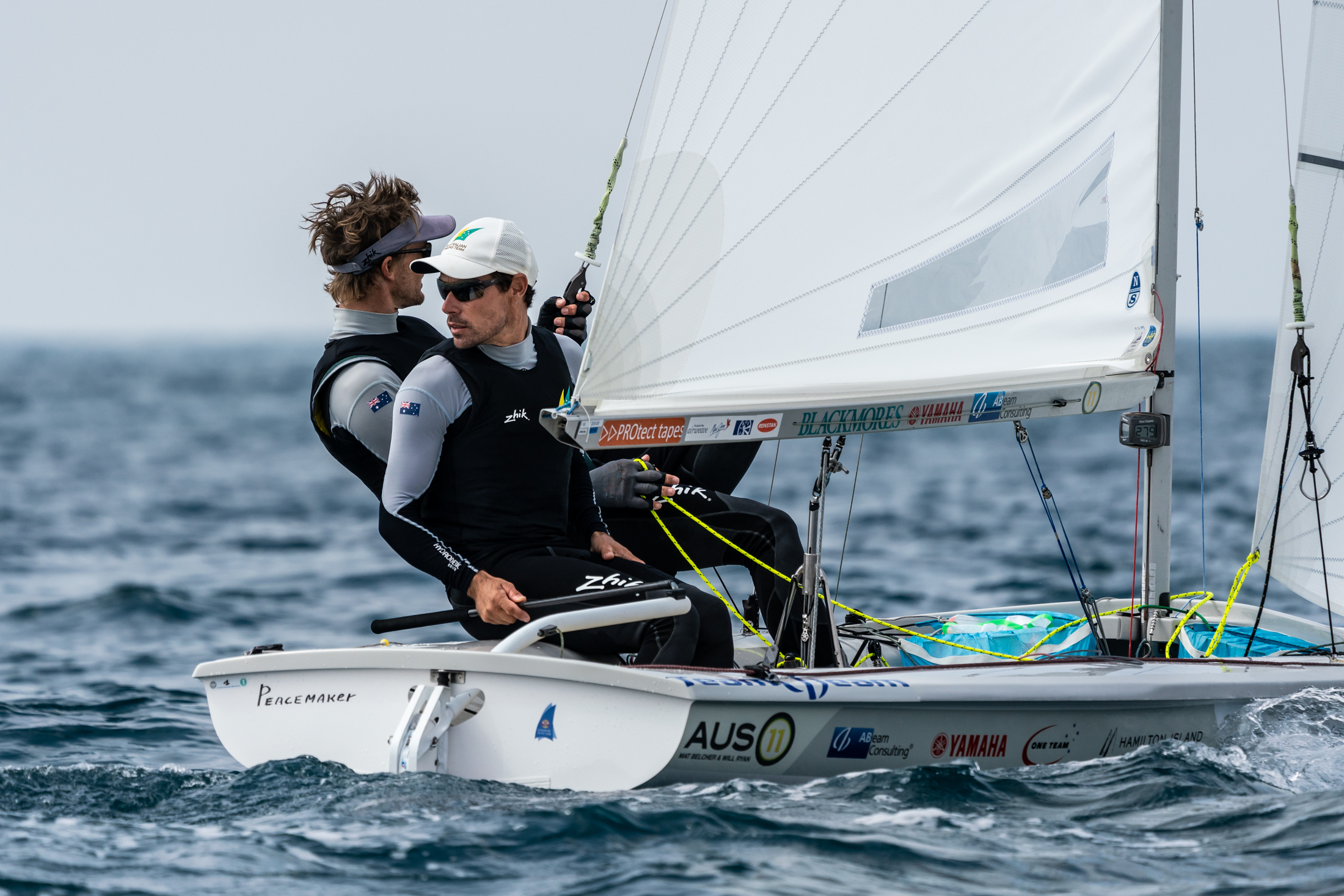 470 sailors Mat Belcher and Will Ryan repping the Zhik gear while sailing