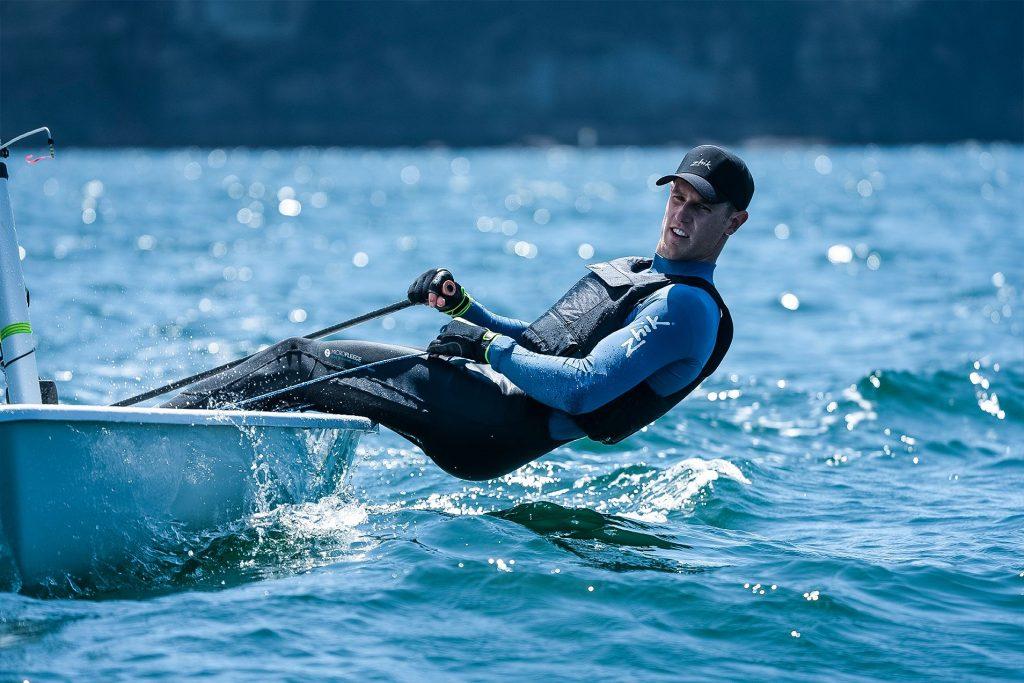 Laser sailor Matt Wearn hiking hard in Zhik gear
