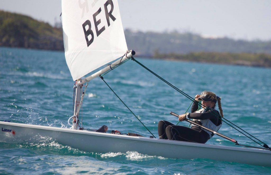 Cecilia Wollmann sailing her laser