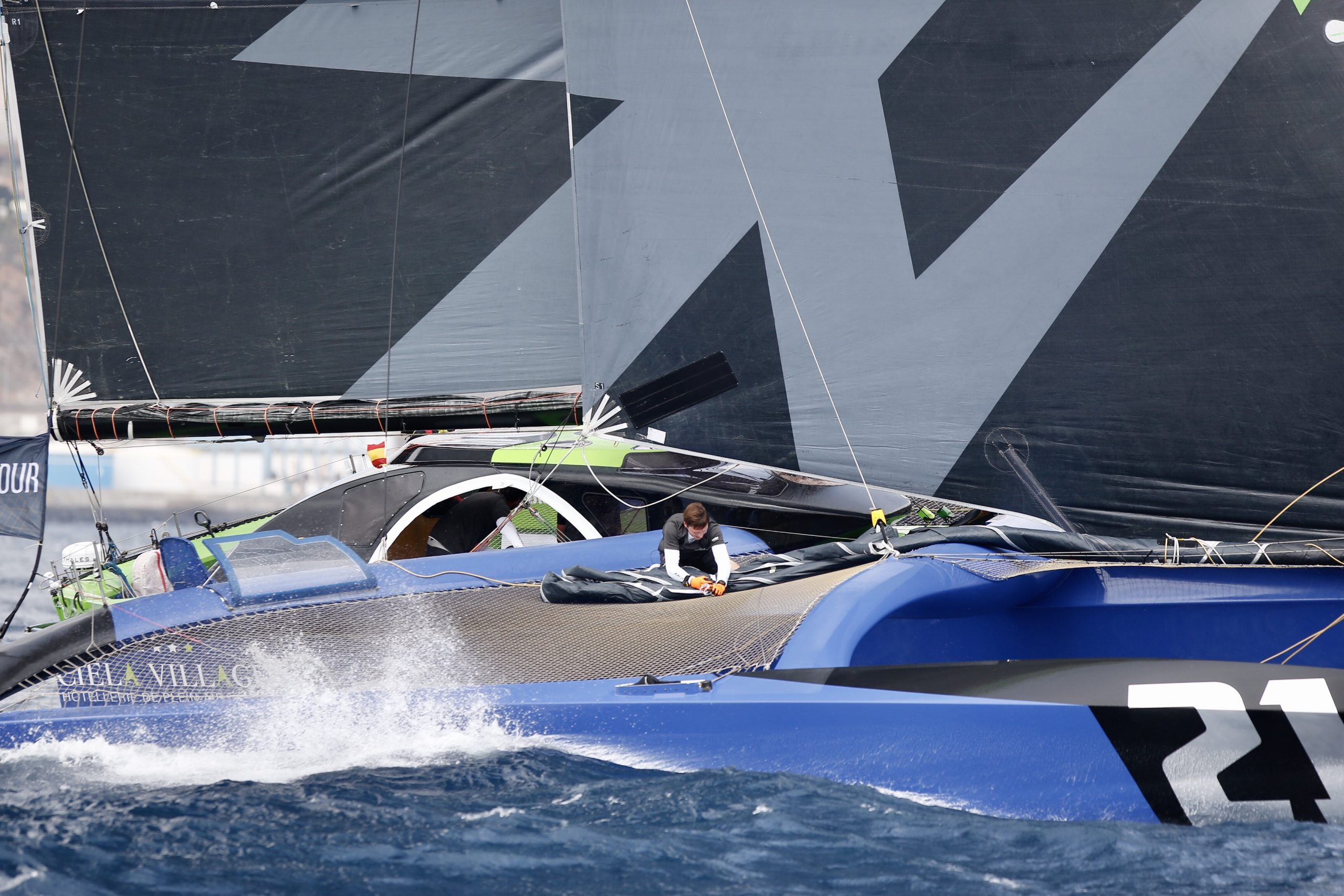 Close up of one of the boats while racing