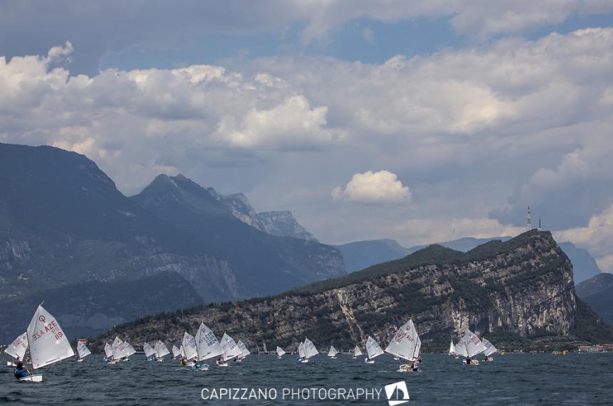 Stunning backdrop to the race fleet in Lake Garda