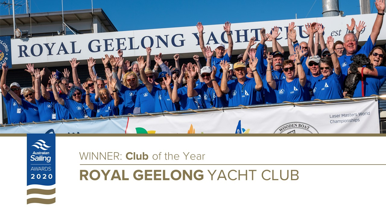 Royal Geelong Yacht Club members celebrating being announced club of the year