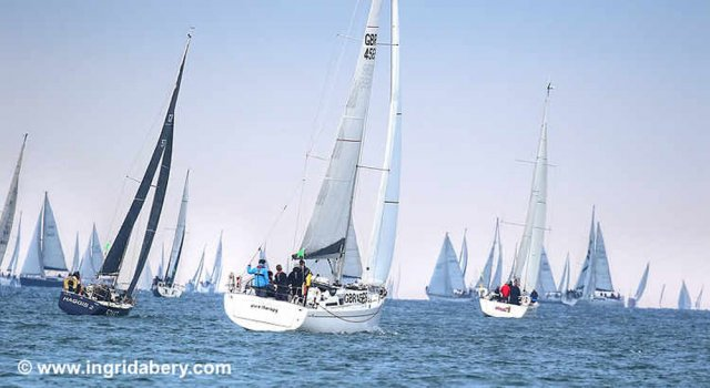 Many yachts racing upwind