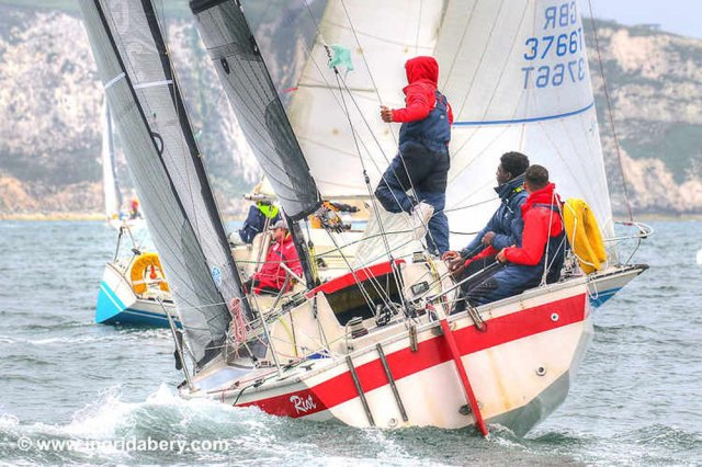 Yacht sailing upwind