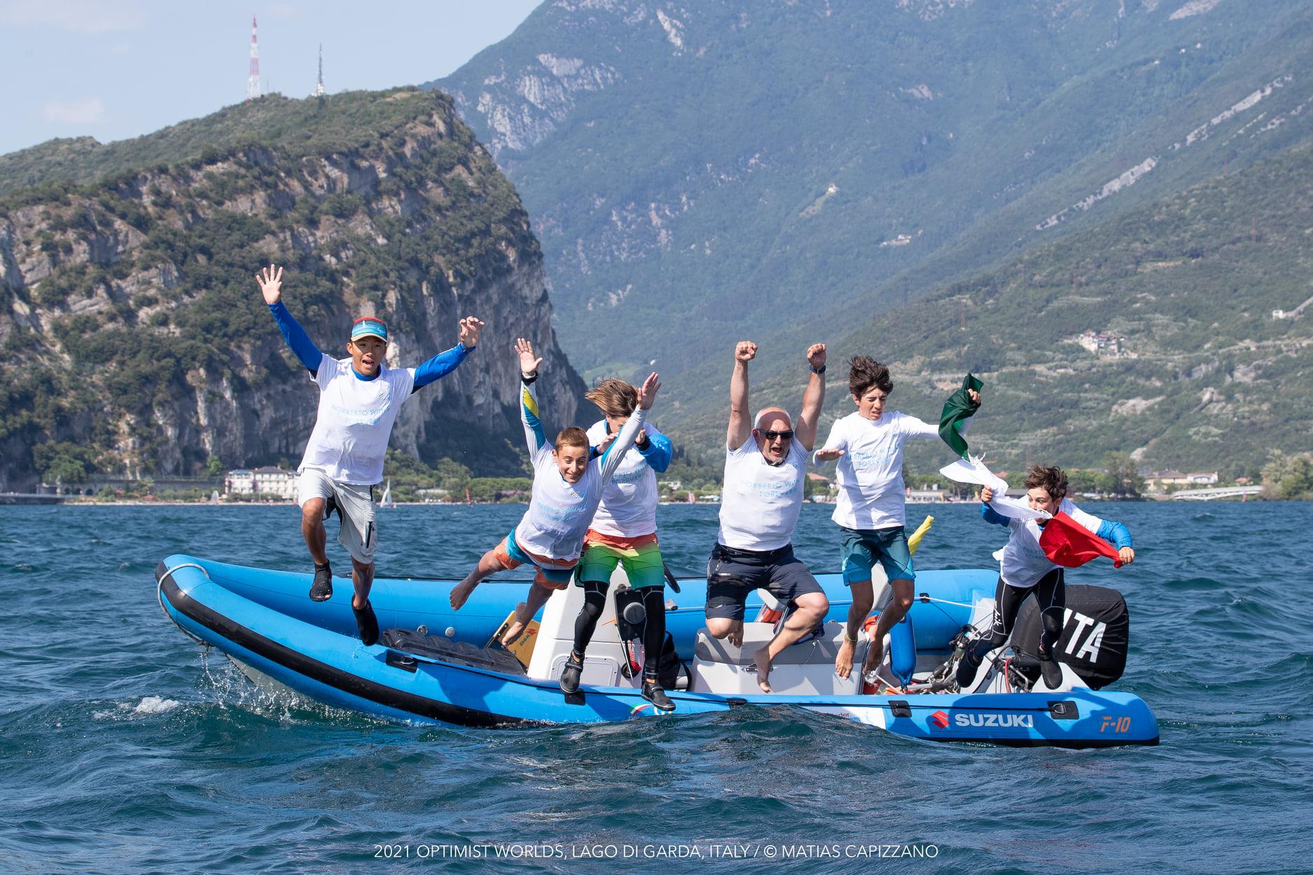 The Italian team jump for joy