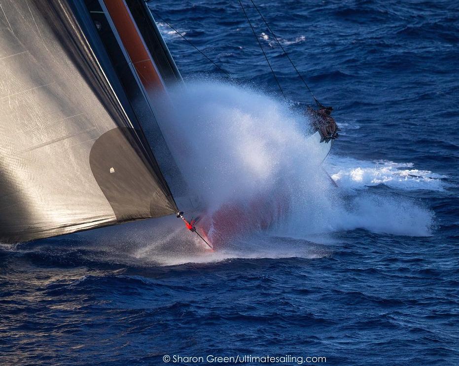 Yacht getting spray