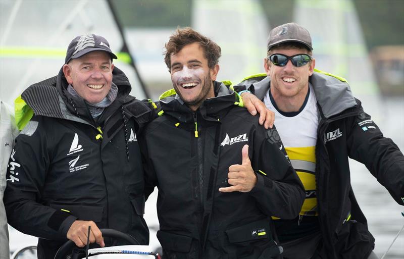 Hamish Willcox with sailing champions from New Zealand Blair Tuke and Peter Burling