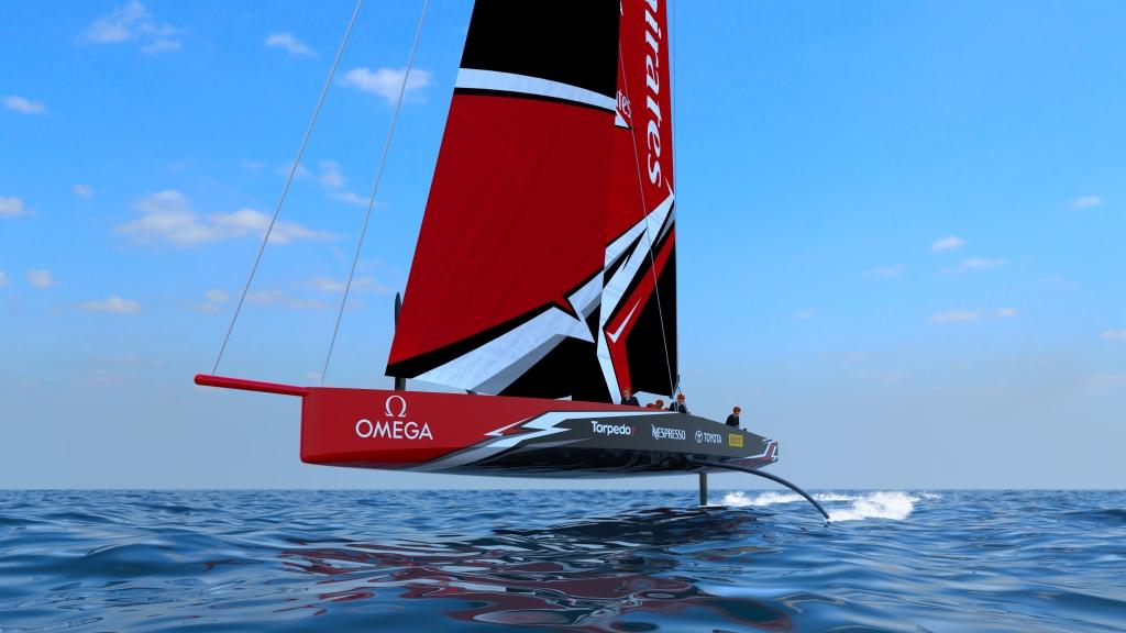 America's Cup boat Team Emirates sailing upwind