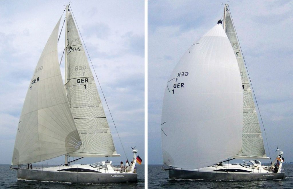 In a side-by-side comparison, the differences between the relatively flat-cut code zero and fuller-cut spinnaker are readily seen.