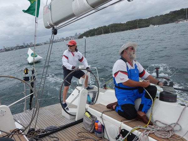 Les and crew sailing on Wax Lyrical