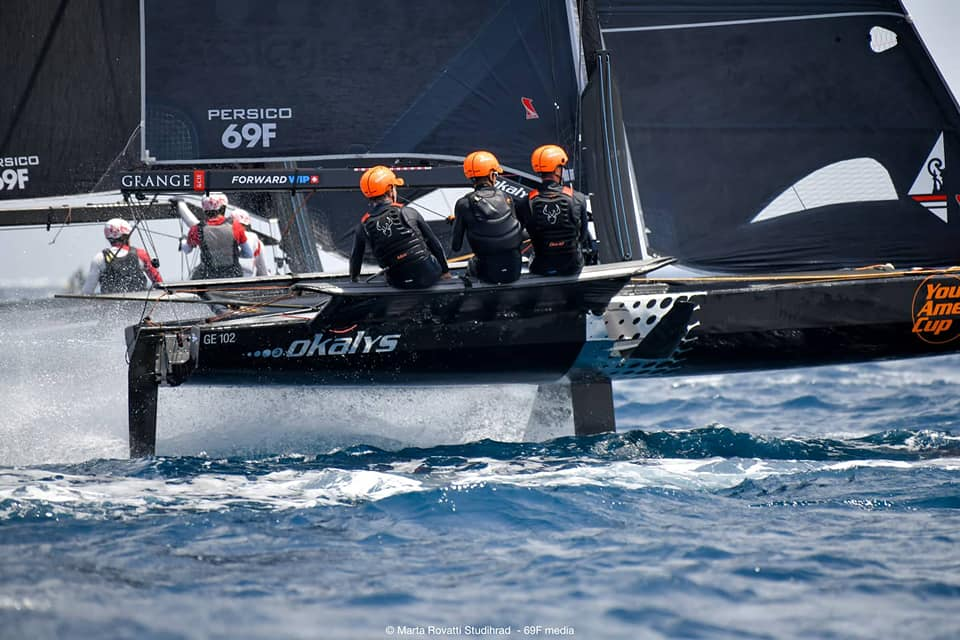 Boat concentrating hard while sailing upwind