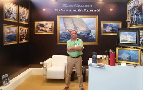 Russ Kramer with some of his works