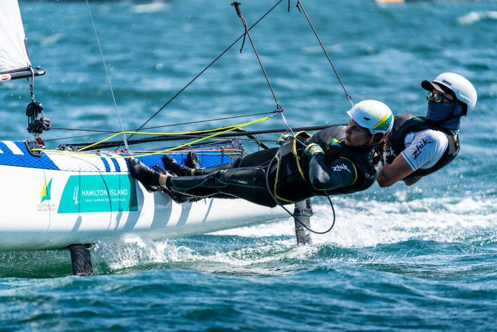 Jason Waterhouse and Lisa Darmanin sailing upwind on the Nacra 17.