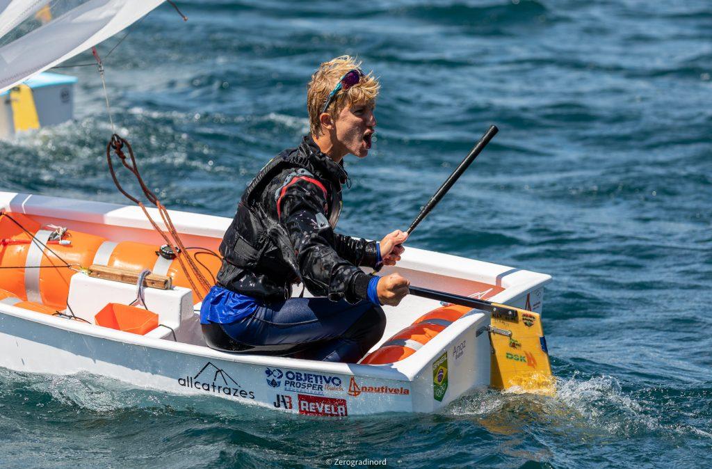 Brazilian sailor celebrating regatta win