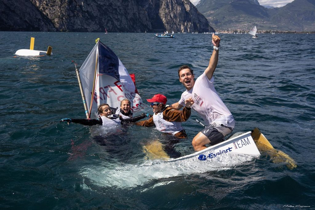 French sailors celebrating in the water