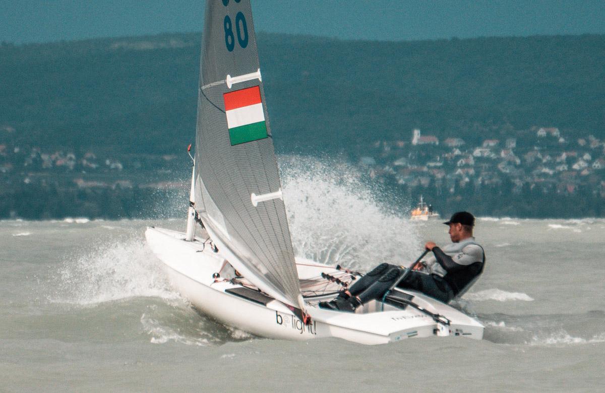 Hungarian sailor going upwind