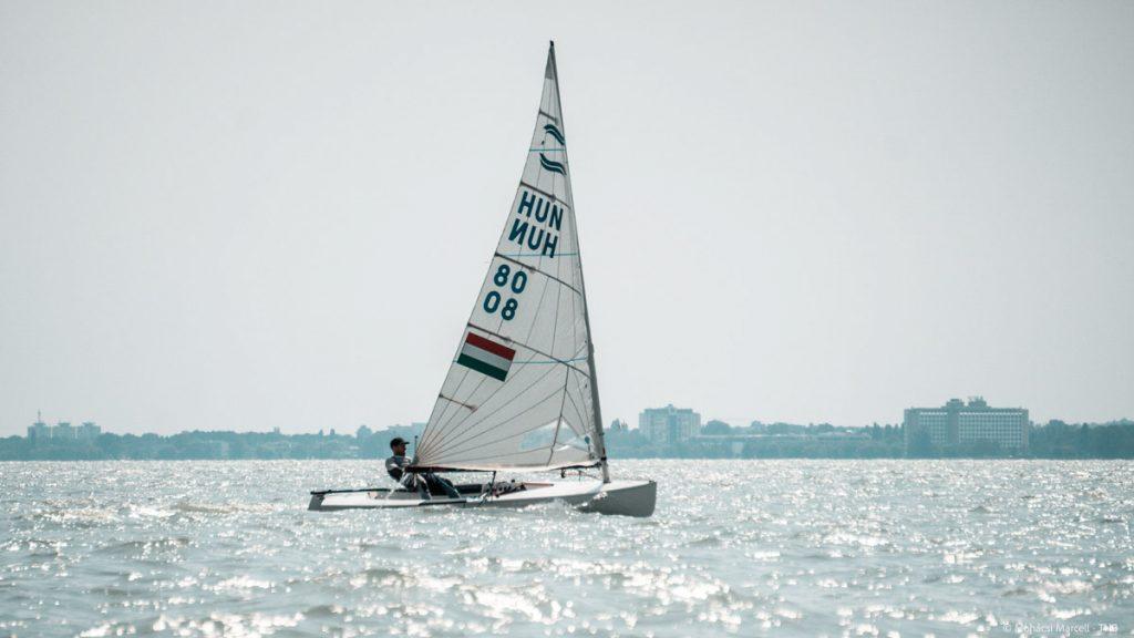 Finn sailor on a reach