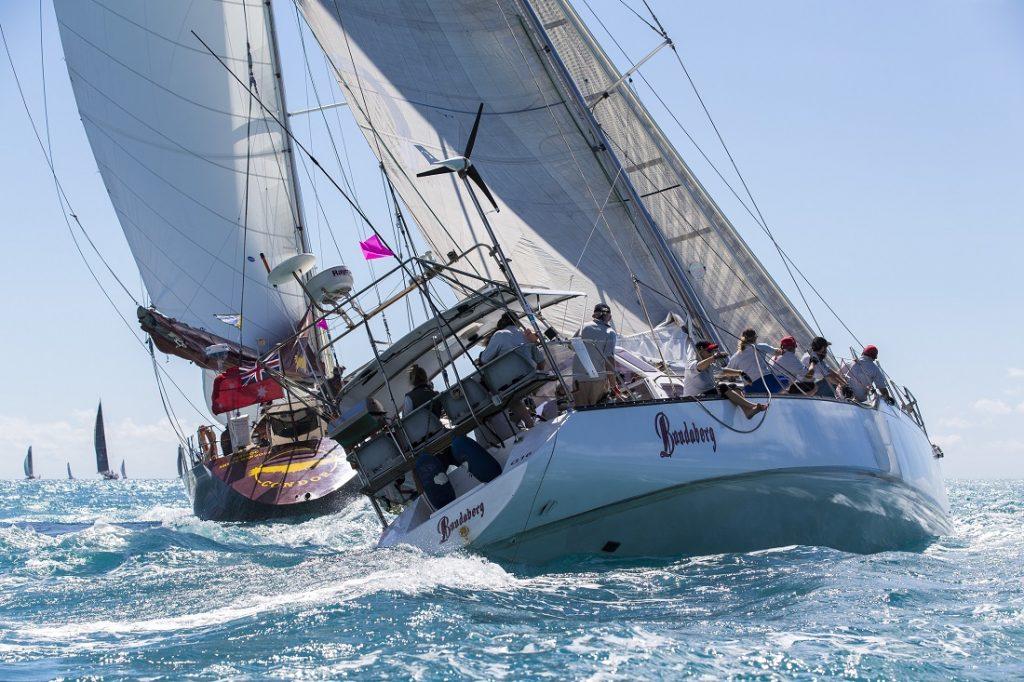The yacht Bundaberg sailing upwind