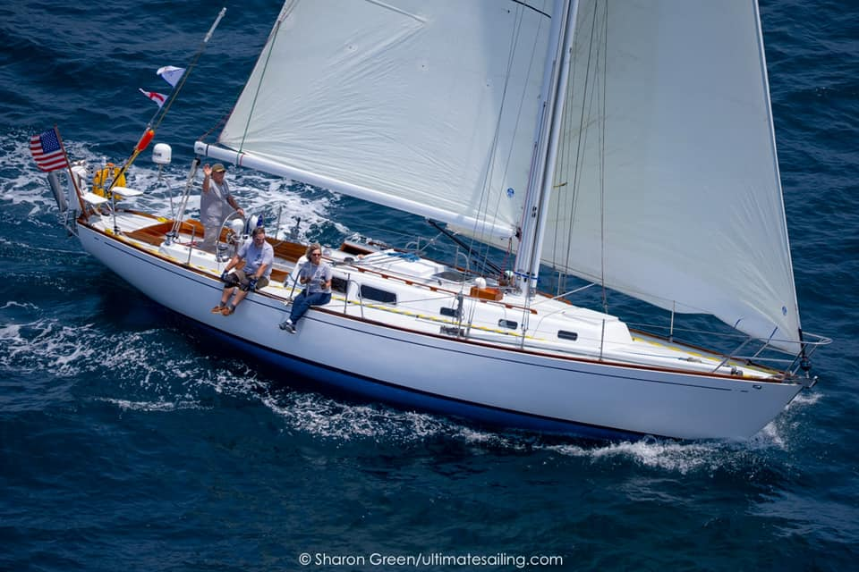Birds eye view of classic looking yacht