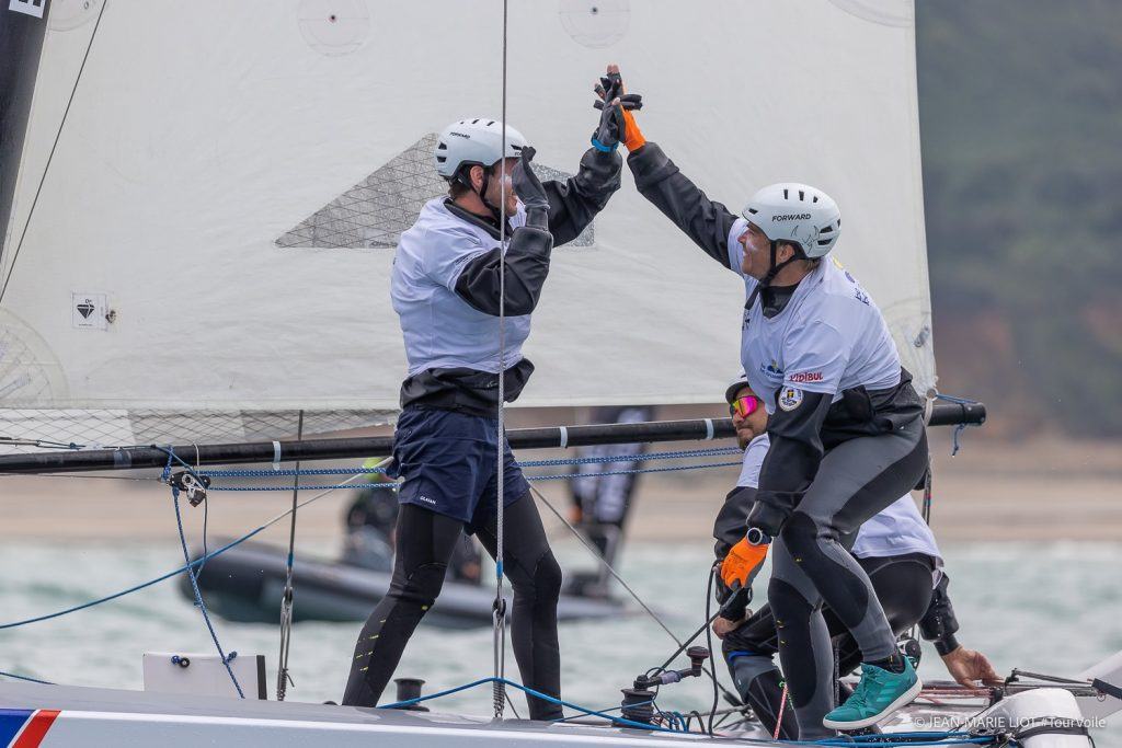 Groupe Atlantic celebrating their win on the water