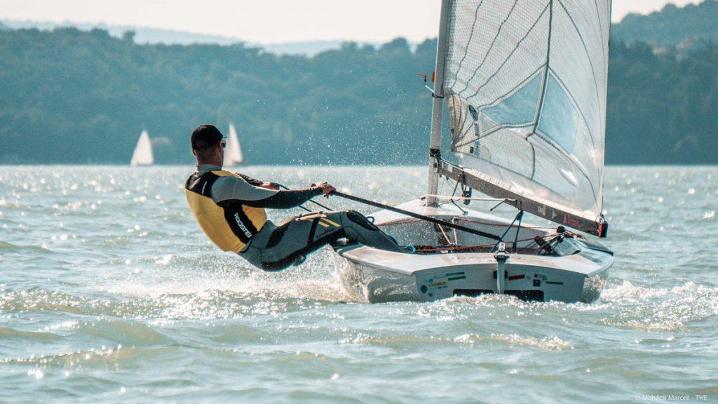 Domonkos Németh sailing upwind