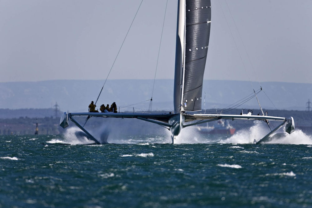 Hydroptere is an example of a V-foil trimaran.