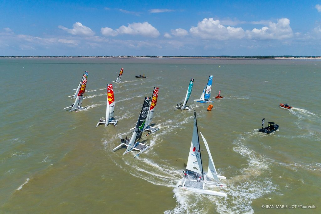 Aerial shots of boats sailing race course