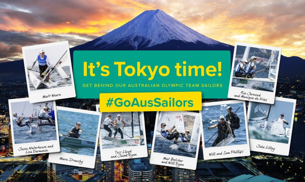 Tokyo poster with all the australian sailing representatives on it