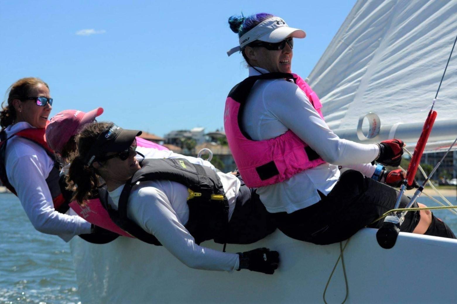 The Bazinga Girls team of Alenka Caserman, Adriana Brownlee, Christine Mah and Megan Houston in action.