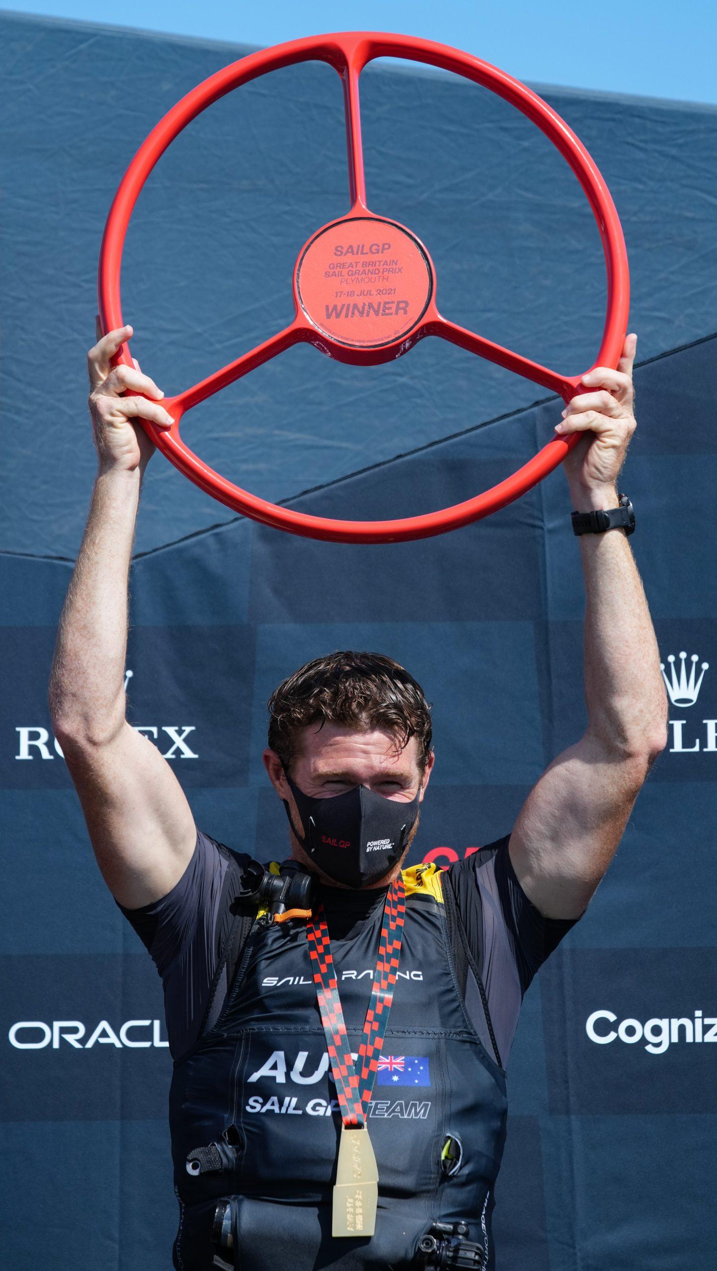 Tom Slingsby, CEO and helmsman of Australia SailGP Team celebrates winning Great Britain SailGP