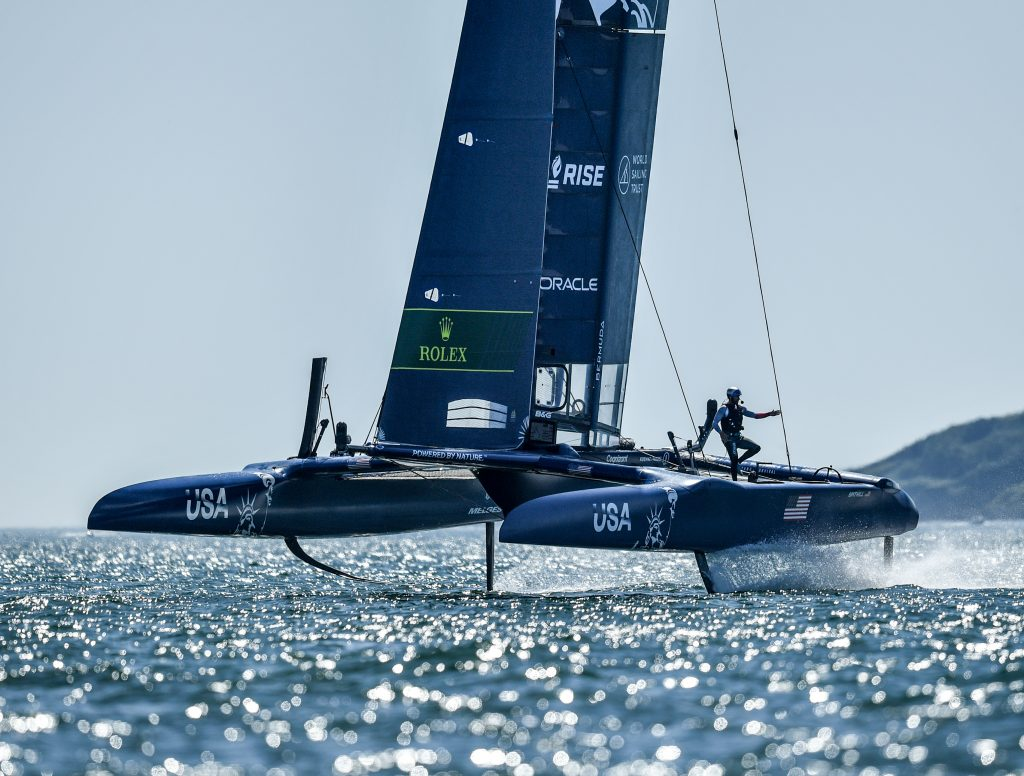 USA SailGP Team helmed by in action on race day 2 of Great Britain SailGP