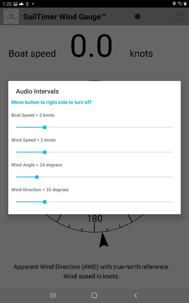 SailTimer Wind Instrument allows you to hear wind conditions and boat speed by just tapping the screen of your tablet. Screenshot - SailTimer